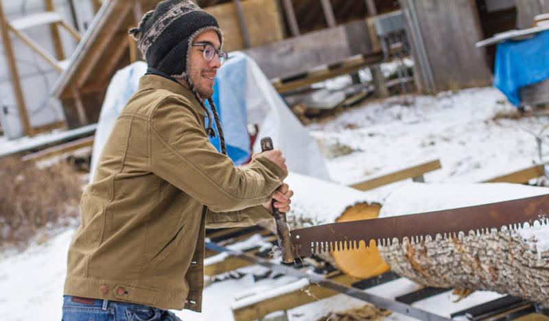 Khaki Moleskin Jacket: Sawing a log