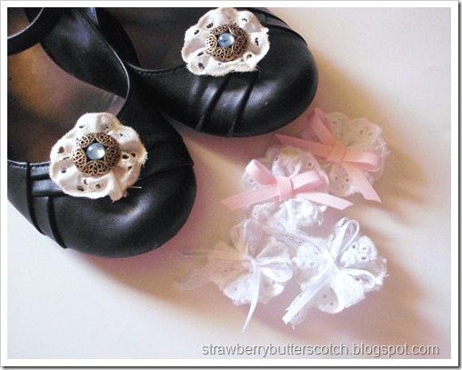 Easy Lace Rosette Shoe Clips with a Twist and Tutorial
