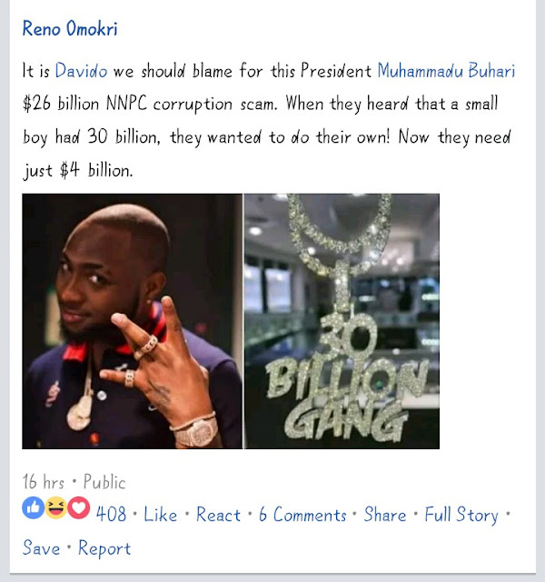 "NNPC Corruption Scam: ""Blame Davido For $26 Billion NNPC Corruption Scam"" – Reno Omokiri"