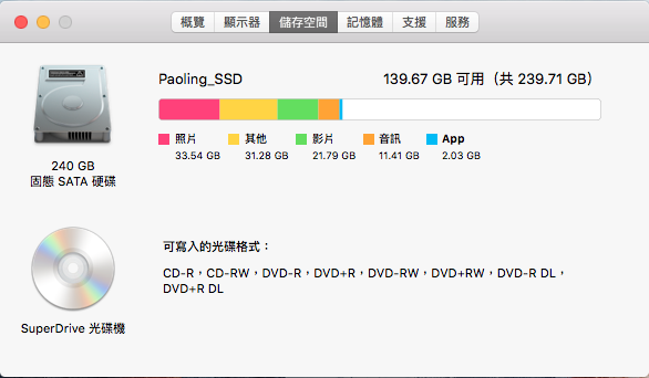 MBP13 2009 Mid Upgraded Storage Status