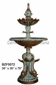 Bronze, Fish, Fountain, Pedestal, Tiered