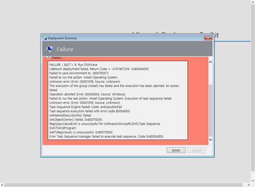MDT 2013U1/U2: Failure (5627): Run DISM exe | OS|DC