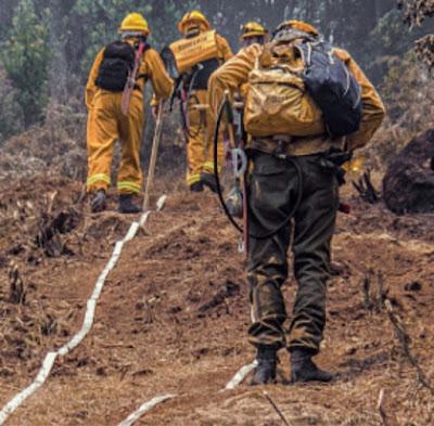 pasukan pemadam kebakaran menuju lokasi bancana