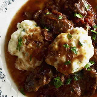 Slow Cooked Beef Casserole with Cheesy Herb Dumplings.