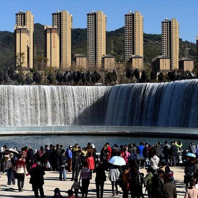 Asia's Largest Man-Made Waterfall Opens in China