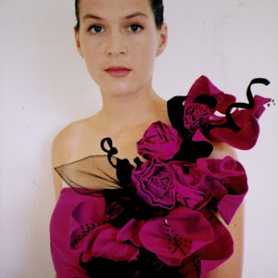 I made this gown when I was just 17, back in the early '90's for a national fashion design awards.  Beautiful fuchsia Thai silk