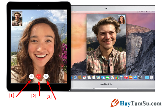 các nút trên giao diện Facetime