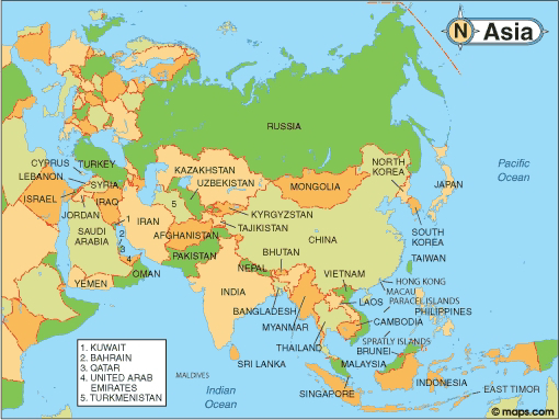 List of Asian countries, their capitals, currencies and population
