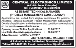 CEL Assistant Technical Manager Advertisement 2017 www.indgovtjobs.in