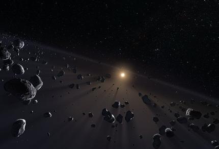 ilustração de núcleos de gelo no Cinturão de Kuiper