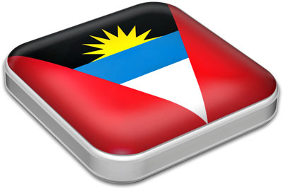 Flag of Antigua and Barbuda with metallic square frame