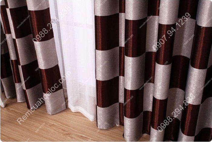 Rèm cửa đẹp cao cấp họa tiết bàn cờ 14