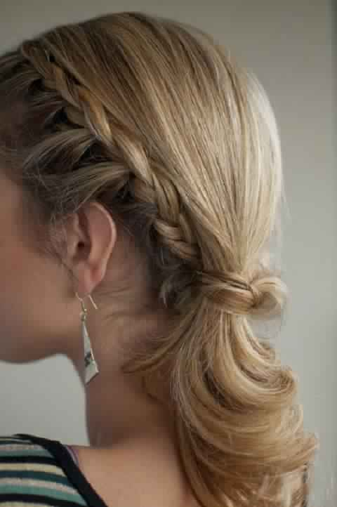 Braided High Ponytail In Side