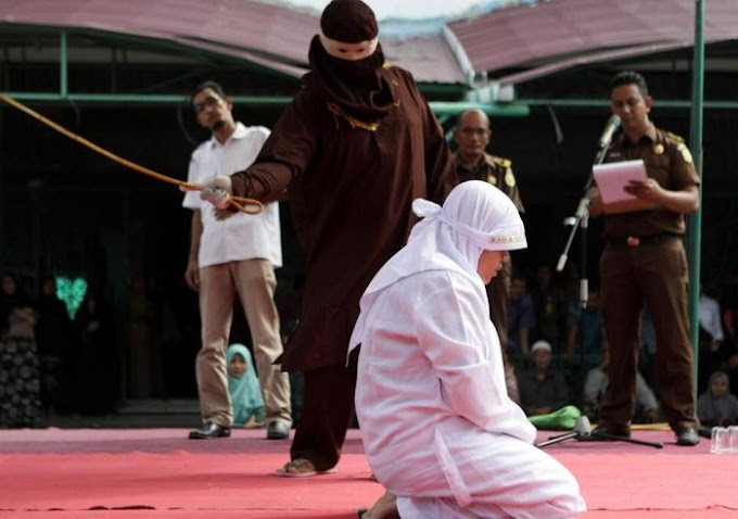 NA WA O!! Woman Flogged In Public For Having S*x Outside Marriage In Indonesia
