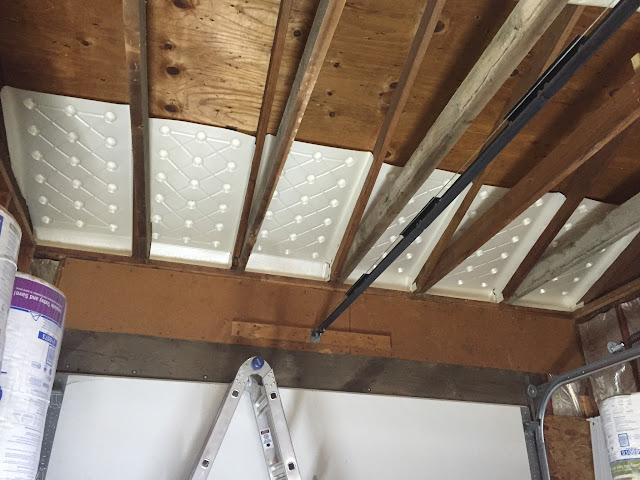 I used foam baffles on my single-bay side of the garage. Had to cut them a bit to fit around the 2x6 joists. & Attic soffit vents (chutes) - The Garage Journal Board