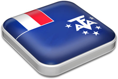Flag of French Southern and Antarctic Lands with metallic square frame