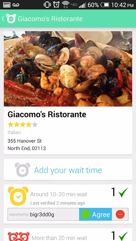 photo showing information about a restaurant on the app