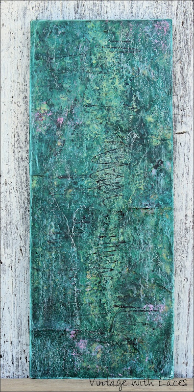 Tempted - Abstract Encaustic Painting by Vintage with Laces