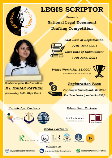 National Legal Document Drafting Competition By Legis Scriptor [Register By 27 June 2021]