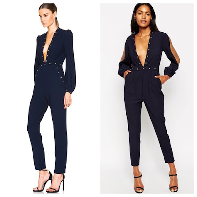 Zimmermann vs ASOS Navy Blue Studded Low Plunge Jumpsuit