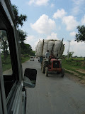 Typical overloaded tractor on the main road near Amarpurkashi