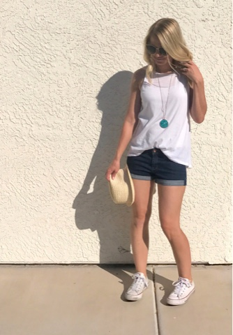 Thrifty Wife, Happy Life- summer look with jean shorts and white tank top