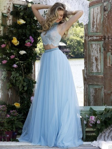 Prom Dress Ideas That Would Make You Stand Out Chic High Neck Two Piece Sleeveless Long Tulle Prom Dress with Lace Bodice