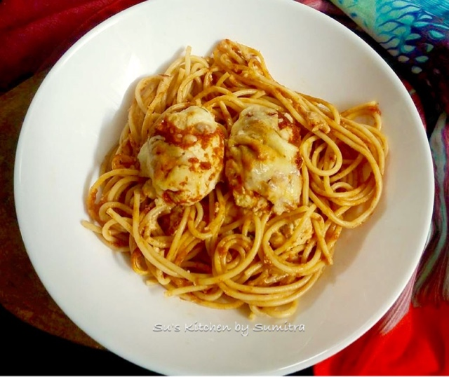 Su's Kitchen by Sumitra : Fish Quenelles (Dumplings) with Spaghetti Baked in Marinara Sauce....