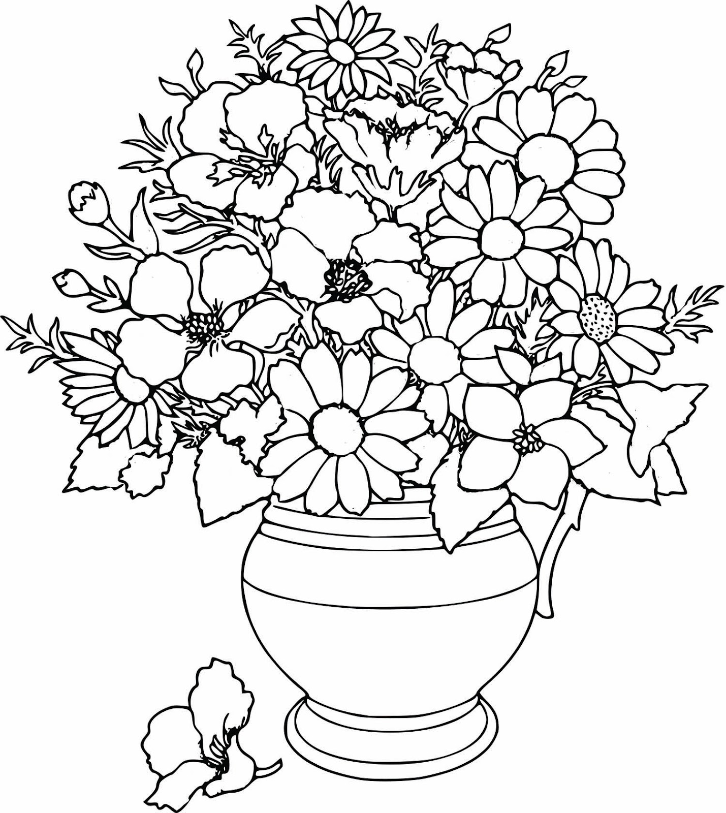 Captivating Coloring Pages Draw Easy Flowers Cool Printable Flower Full Version