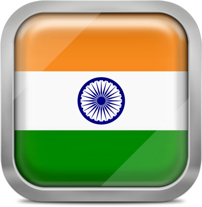 India square flag with metallic frame
