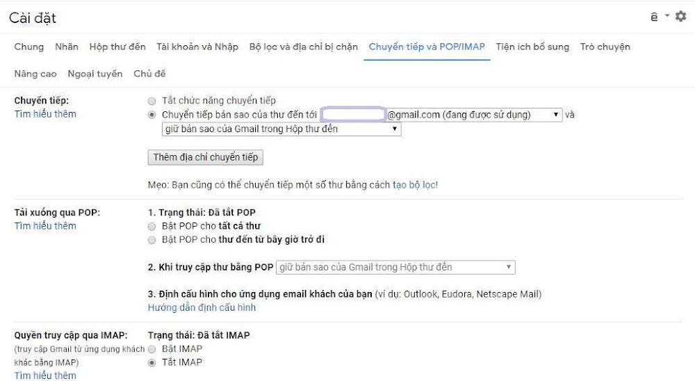 Cài đặt email forwarding chuyển tiếp Gmail đến email khác