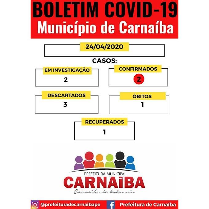 Prefeitura de Carnaíba anuncia 2 novos casos suspeitos de Coronavírus e 1 recuperado