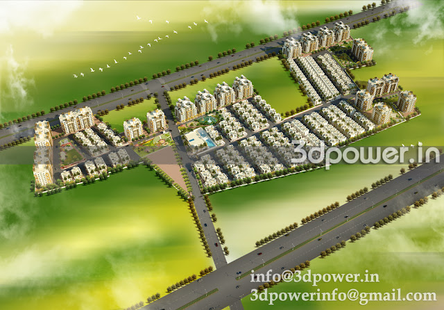 Birds eye view for Marvel Township. Here our client was asking for plain and simple Scape to show the hugeness of township in size.  So we kept it minimalistic.