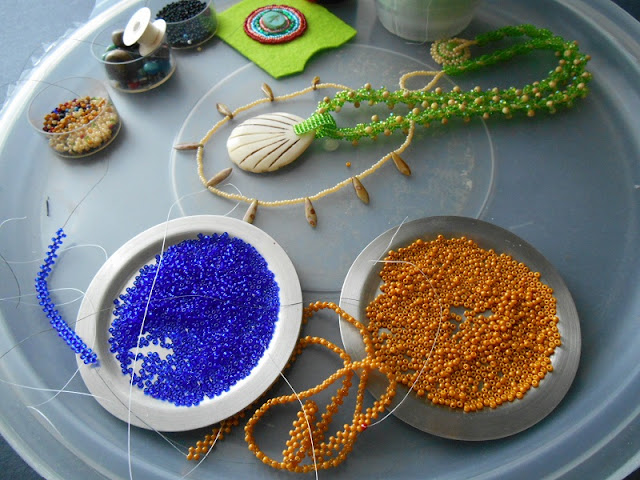 Gold and Cobalt Pendant in Progress