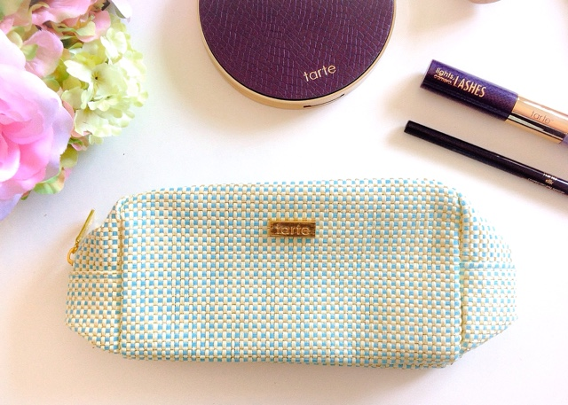 Tarte Teal Blue Woven Makeup Bag