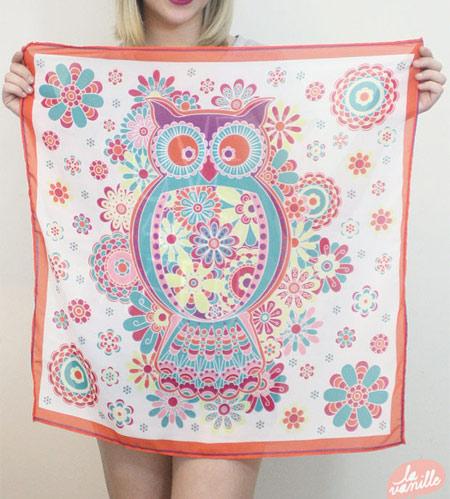 Inspiração Coruja - lenço