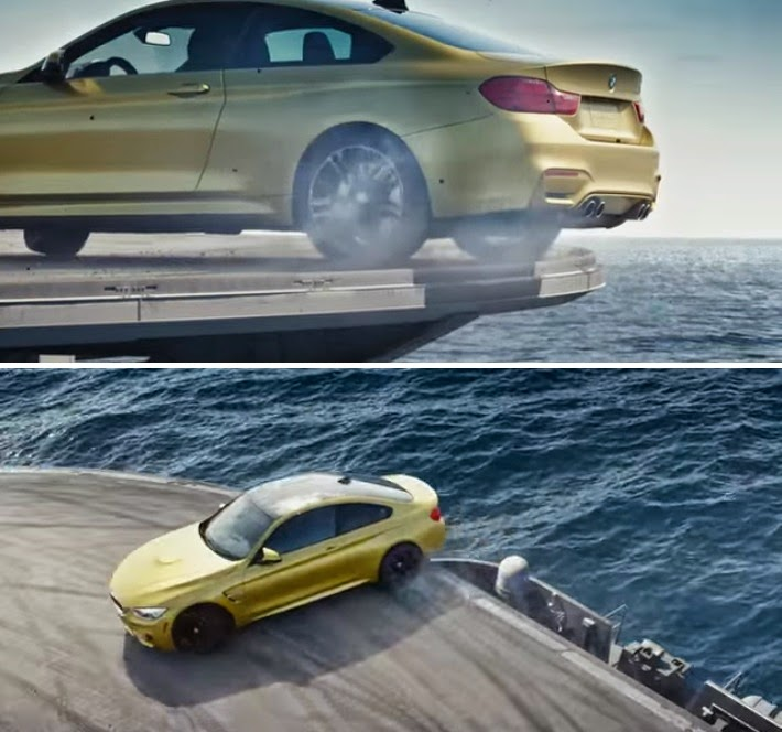 BMW M4 Drifting on the Edge of an Aircraft Carrier