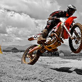 Splash Wheelie by Zachary Zygowicz - Sports & Fitness Motorsports ( motocros, colorsplash, racing, dirtbike, wheelie )