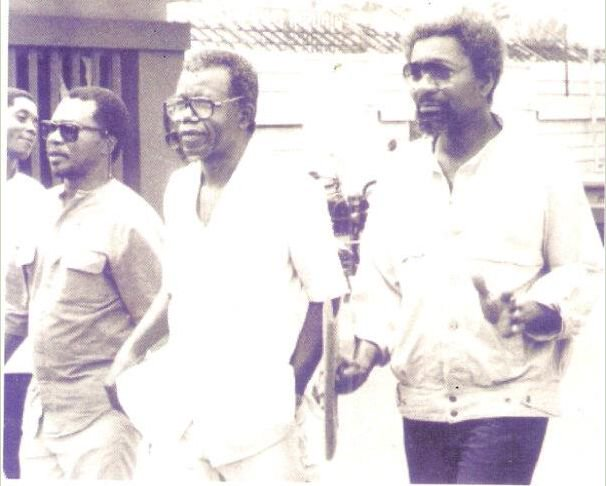J P Clark, Achebe & Soyinka pictured together at Dodan Barracks in 1986