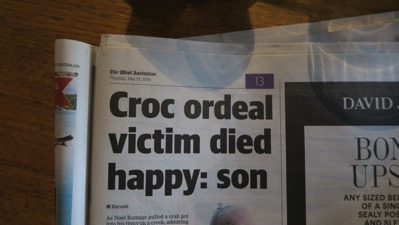 Croc Victim Died Happy