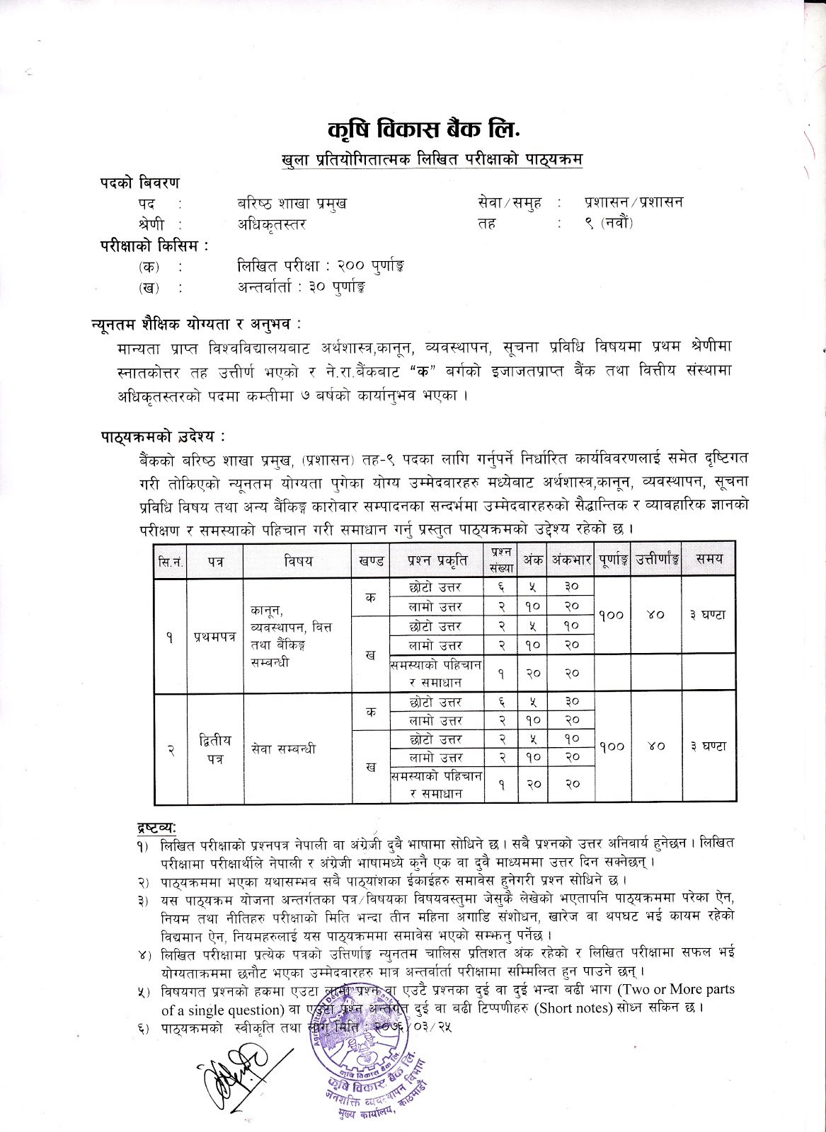 Syllabus for Level -9 Senior Section Chief