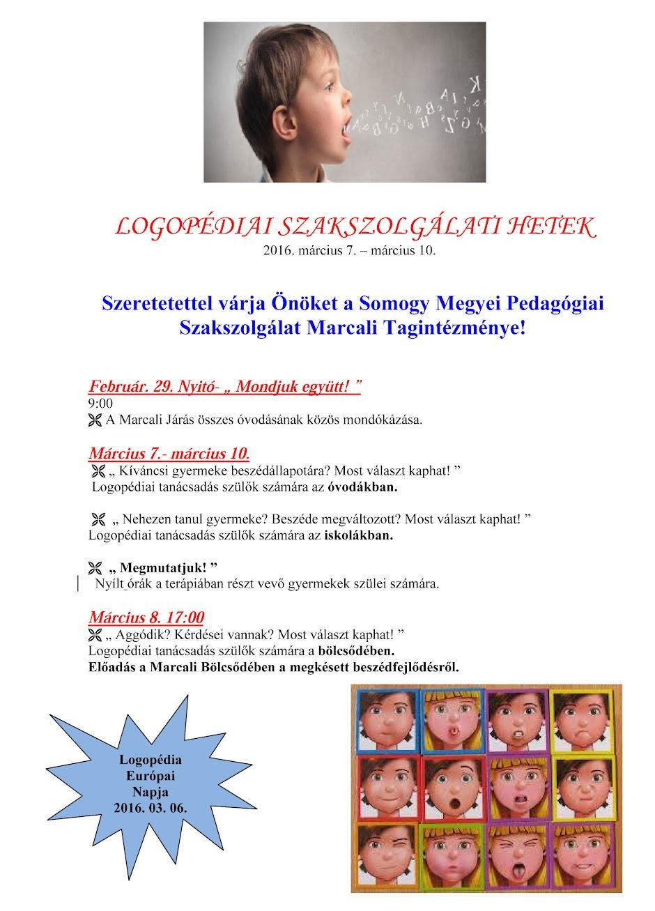 Logopédiai Szakszolgálati Hetek - Marcali 2016 plakát