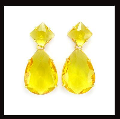 Brincos pedra amarela topazio