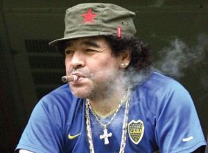 Maradona apologises for puffing cigar at World Cup match