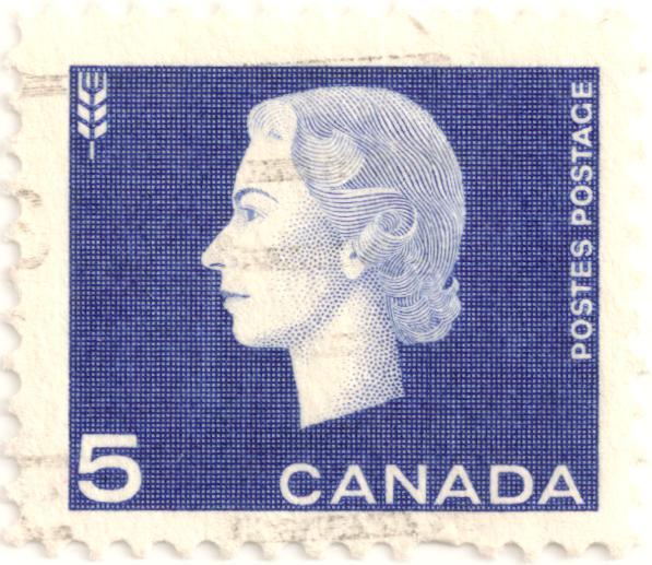Queen Elizabeth Ii Canada Postes Postage Blue 5 C 1963 Stamp