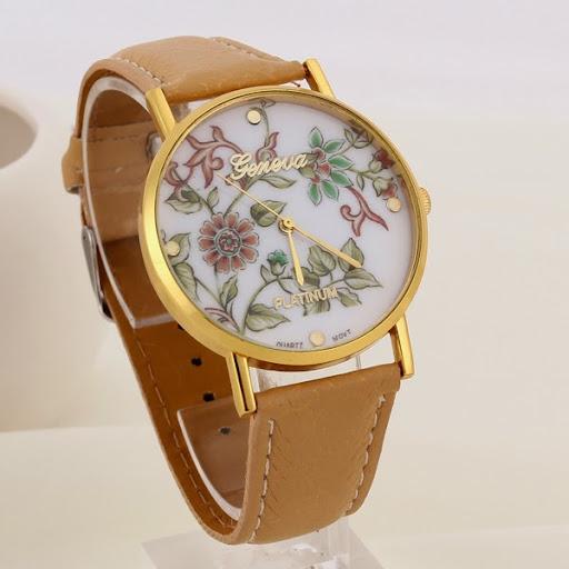 Fashion Geneva Watches Platinum Women Floral Quartz Wat