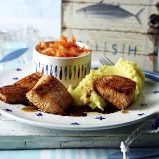 Teriyaki Salmon with Apple Salad and Mashed Potatoes.