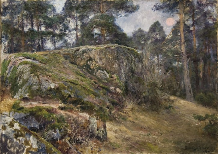 Bruno Liljefors - Rocher dans une forêt