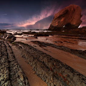 Holly Cross by Paulo Penicheiro - Landscapes Sunsets & Sunrises ( sunset, sea, low light, lines, rocks )