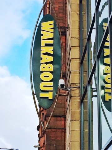 close up photo of the walkabout sign outside of their building in Glasgow city centre